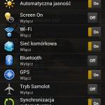 Quick settings tab of status bar